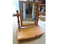 Pine table top mirror with storage compartment