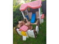 Garden play farm house with slide and horse