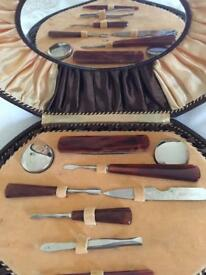 Antique manicure set with mirror Complete set .