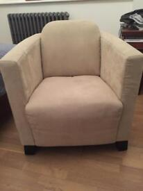 Two armachairs sturdy tub chairs