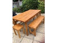 Handmade table and bench set