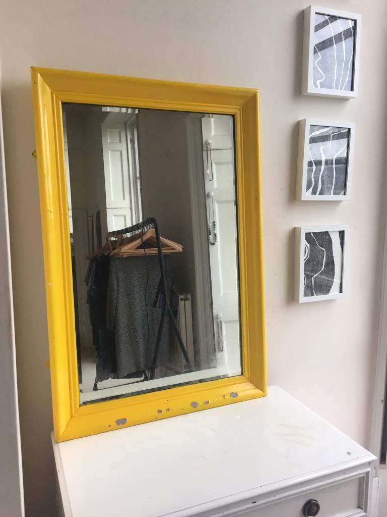 Yellow Upcycled Mirror