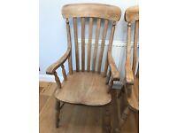 Antique pine farmhouse carver chairs x 2