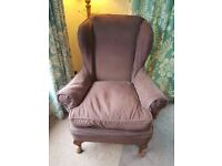 BROWN WINGBACK ARMCHAIR with removable covers