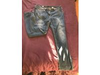 3 Pairs of Ladies Jeans distressed or patterned size 14-16 Zara, Next and Primark