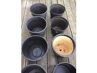 8 Large Black Planter Pots Job Lot, One Glazed Terracotta