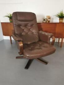 Retro Scandi Leather Swivel Chair - Mid Century Danish Vintage Style