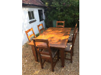 dining table and chairs for sale preston. rustic/farmhouse solid dark wood extendable dining table and 6 chairs for sale preston