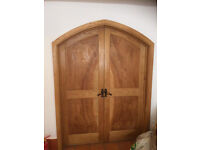 Solid Wood Oak (?) Arched Wooden Double Doors + Frame & Hardware **Poss Delivery