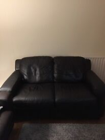 NEW PRICE Great condition dark brown leather sofa