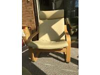 IKEA poang chair with leather cushion OAK colour VGC