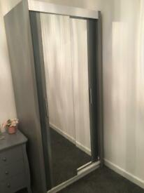 Grey mirrored wardrobe