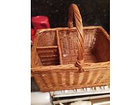 Strong wicker picnic basket