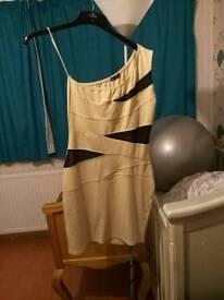 1 shoulder beige dress
