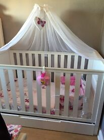 Argos cot bed and mattress with canopy and pole