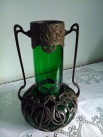 Art Nouveau emerald green glass Austrian vase