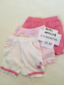 Boots Miniclub baby girls shorts - set of 3 0-3 months