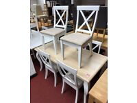 6 Seater Table and 6 Crossback solid wood chairs