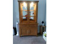 Solid wood medium oak dresser with matching tv corner unit, Tv not included.