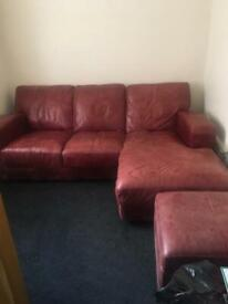 Leather Corner Sofa with foot stool from DFS