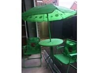 Child's garden table and chairs set with parasol and free tent