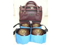 SET OF 4 ALMARK COMMANDER LAWN BOWLS + BAG & CARRIER