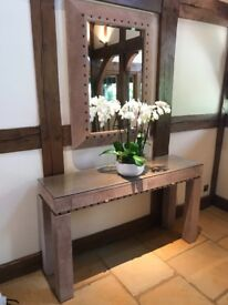 Lovely side table and matching mirror - bespoke made £150
