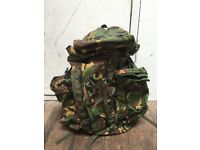 Large NEW army Bergen/ Rucksac, UK camouflage, detachable side pockets, generous hood extent ion
