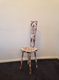 Victorian Arts & Crafts Ornate Carved Wooden Painted Chair With Turned Legs Shabby Chic