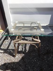 "GLASS and METAL SIDE TABLE - 905 510-8720 OAKVILLE - Excellent condition 24""x24"""