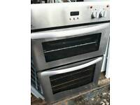 Stainless steel double oven.