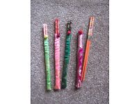 4 sets of chopsticks with silk covers - new