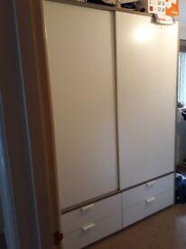 IKEA huge sliding doors wardrobe , 4 drawers white/light grey