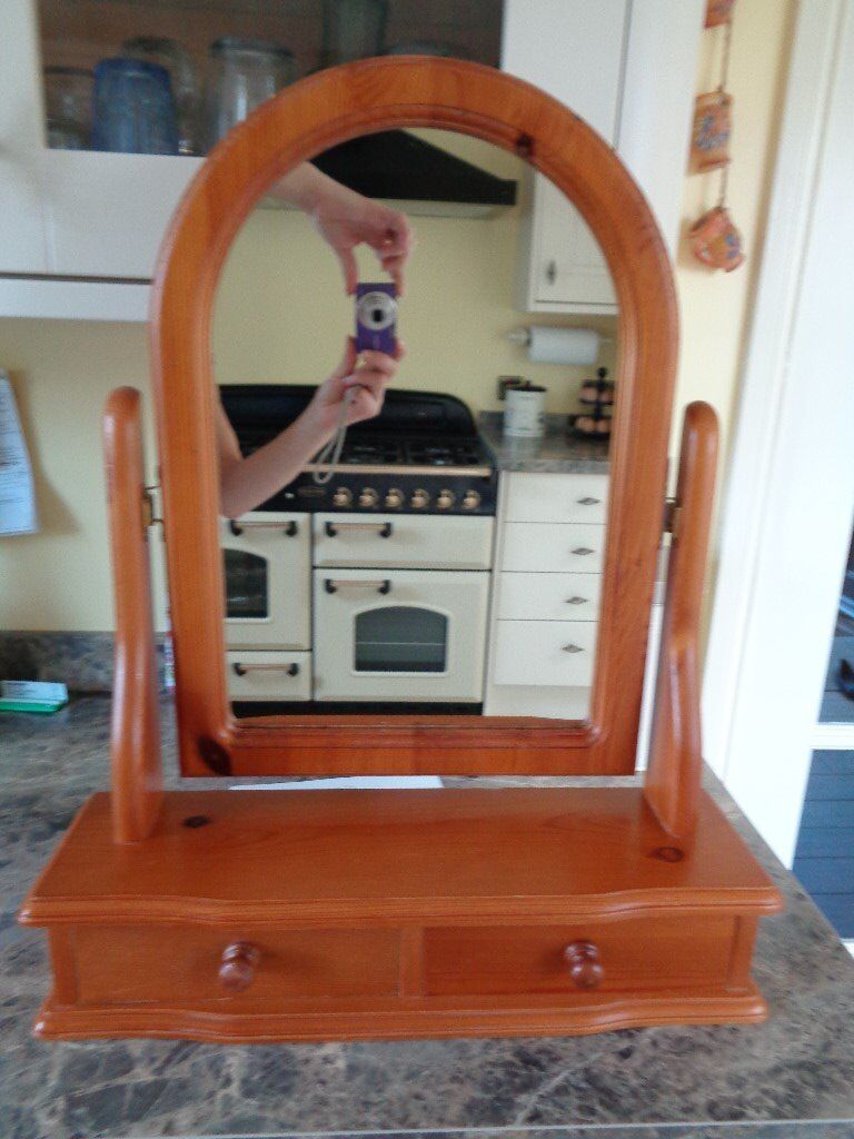 Antique Pine Stand alone dressing table mirror with two trinket drawers