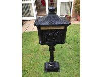 Post Box - Victorian Style Freestanding Aluminium Letter Box In Black