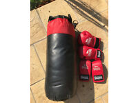 Punch Bag with Wall Bracket and two pairs boxing gloves