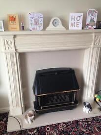 Marble fire surround, hearth and back.