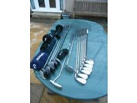 Golf clubs for sale with trolley and Powakaddy cart bag, irons are Acer XFs with