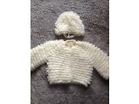 Baby girls knitted Bonnet and Cardigan cream