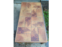 retro tiled coffe table with fern print