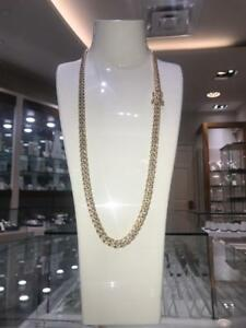14k Yellow Gold 8.00 Carat Diamond Cuban Link 28 inches 8.2 mm 135.5 gr