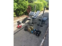 Weight benches, weight bar, 99.5kg of weights and medicine ball
