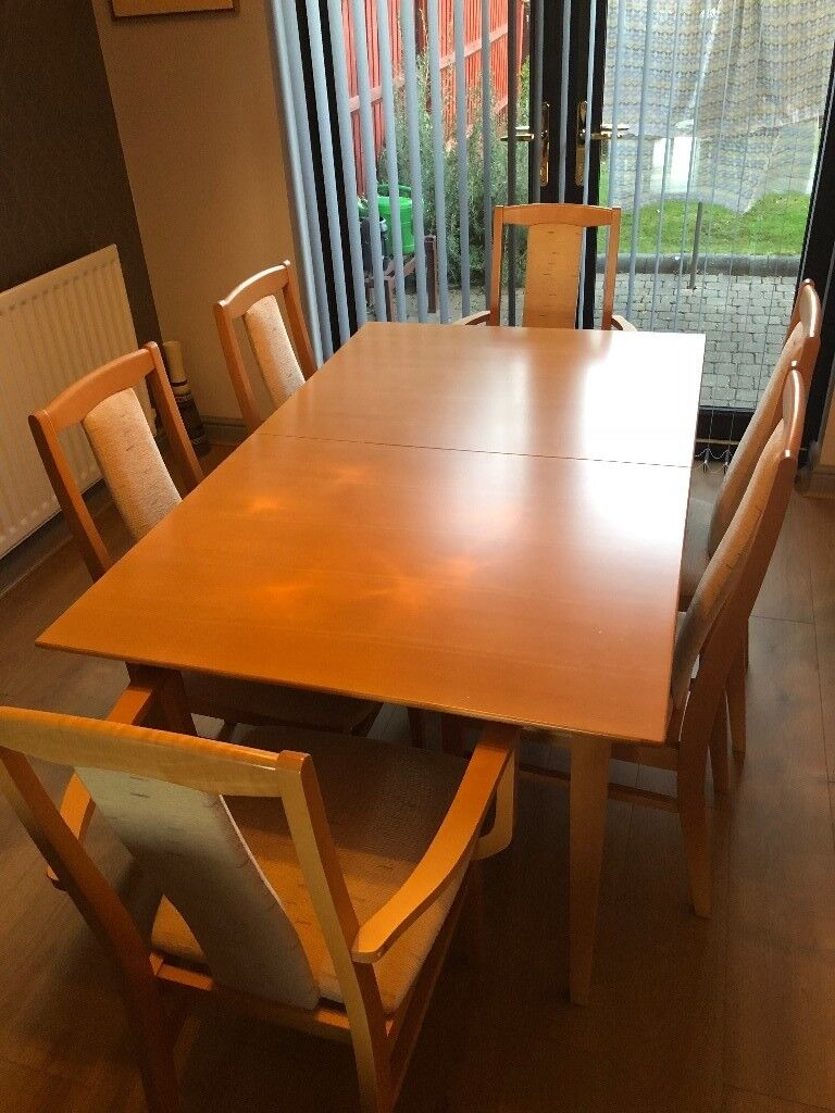 Beech Dining Table Extendable With Chairs Two Carvers In - Extendable beech dining table