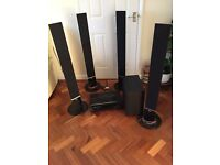 LG sound surround 120 W - sub woofer plus 5 speakers remote control - great sound