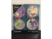 Disney Aladdin coasters, by Primark, set of 4, round coasters, Jasmine, Genie