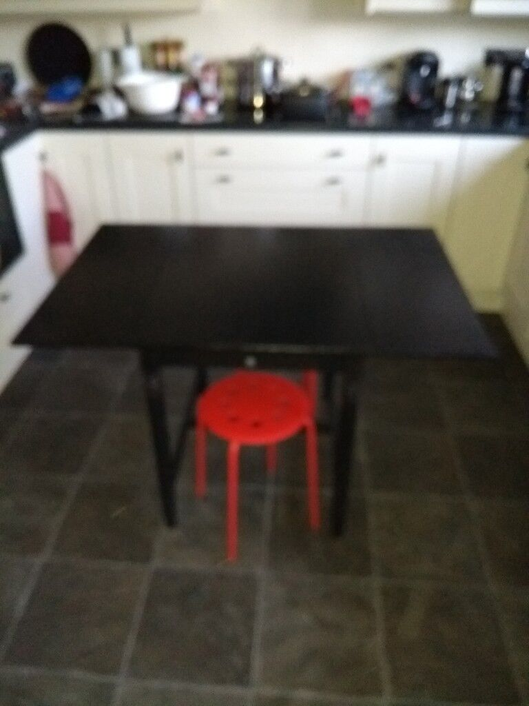 IKEA Drop Leaf Dining Table with two stools