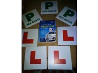 Learner car driver 4 x L and 3 x P plates plus dvsa driving theory test book bundle