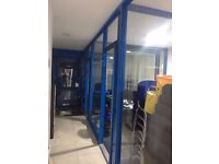 3 Office Partition Unit In Very Good Condition Glass Blocks Office Blocks