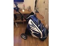 Mizuno tour cart bag+Motocaddy s1 lite trolley