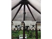 Home Light 5 Way Suspended Chandelier Wrought Iron Ceiling Light
